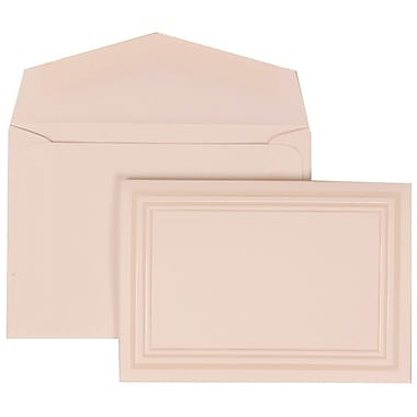 JAM Paper® Wedding Invitation Set, Small, 3.38 x 4.75, White Cards, Ivory Triple Border, White Envelopes, 100/Pack (309225021)