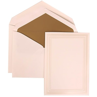JAM Paper® Wedding Invite Set, Medium, 5.5 x 7.75, White Cards, Ivory Triple Border, Gold Lined Envelopes, 50/pack (309225023)