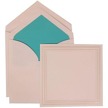 JAM Paper® Wedding Invitation Set, Large, 7 x 7, White, Ivory Triple Border, Aqua Blue Lined Envelopes, 50/pack (309225028)