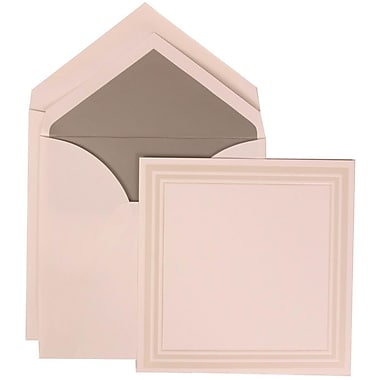 JAM Paper® Wedding Invitation Set, Medium Sq, 6.25x6.25, White, Triple Ivory Border, Silver Lined Envelopes, 50/Pack (309225031)