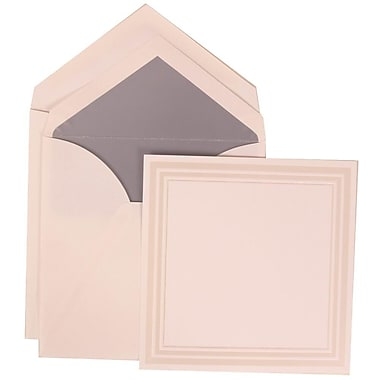 JAM Paper® Medium Square Wedding Invitation White Cards with Grey Lined Envelopes, 50/Pack