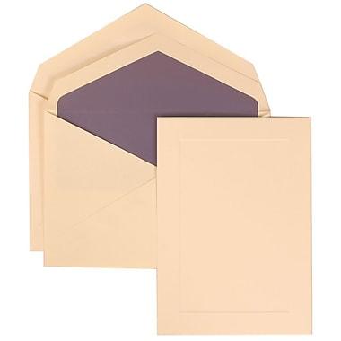 JAM Paper® Wedding Invitation Set, Medium, 5.25 x 7.25, Ivory Cards, Simple Border, Purple Lined Envelopes, 50/Pack (309325041)