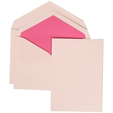 JAM Paper® Wedding Invitation Set, Large, 6.63 x 10, White With Bright Pink Lined Envelopes, 50/Pack (309425049)