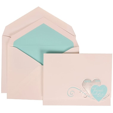 JAM Paper® Wedding Invite Set, Large, 5.5x7.75, White with Blue Best Friends Heart, Blue Lined Envelopes, 50/pack (309525061)