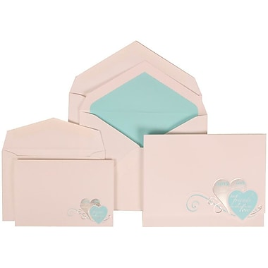JAM Paper® Wedding Invitation Combo, 1 Sm 1 Lg, White with Blue Best Friends Heart, Blue Lined Envelope, 150/pack (309525063)