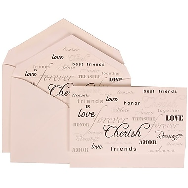 JAM Paper® Wedding Invitation Set, Large, 5.5 x 7.75, White Cards, Honor Love Cherish Lined Envelopes, , 50/Pack (309625064)