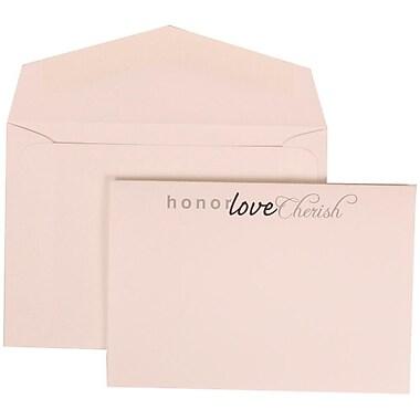 JAM Paper® Wedding Invitation Set, Small, 3.38 x 4.75, White with White Envelopes and Honor Love Cherish, 100/Pack (309625065)
