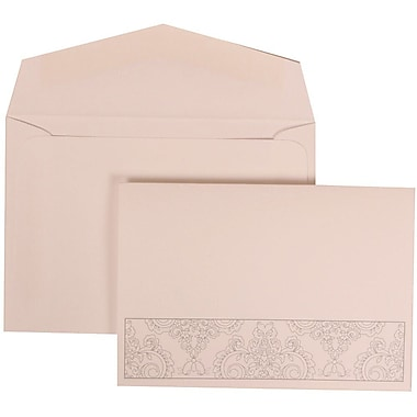 JAM Paper® Wedding Invitation Set, Small, 3.38 x 4.75, White with White Envelopes and Bouquet Bow, 100/Pack (309725068)