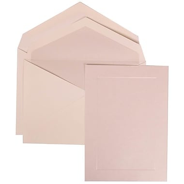 JAM Paper® Wedding Invite Set, Large, 5.5 x 7.75, White Card, Simple Pearl Border, Pearl Lined Envelopes, 50/pack (309825072)