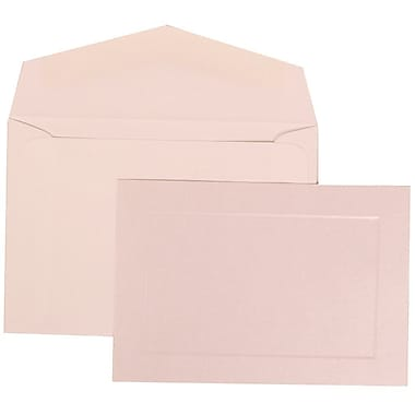 JAM Paper® Wedding Invitation Set, Small, 3.38 x 4.75, Pearl Cards with Panel Border, White Envelopes, 100/Pack (309825073)