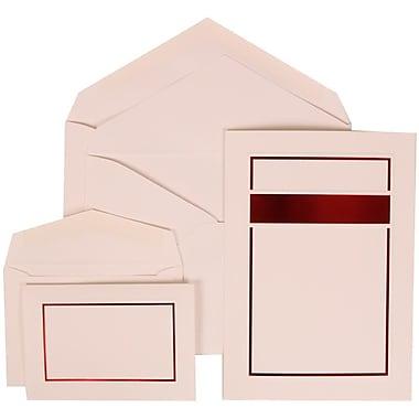 JAM Paper® Wedding Invitation Combo Sets, 1 Sm 1 Lg, White Cards, Red Band Design, White Envelopes, 150/Pack (310025087)
