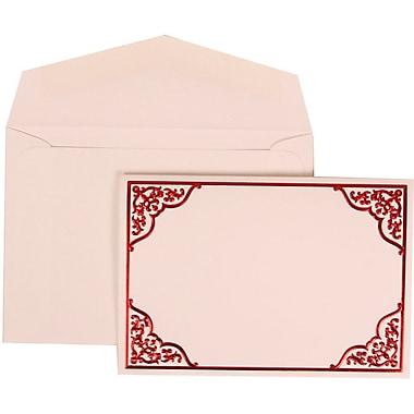 JAM Paper® Wedding Invite Set, Small, 3 3/8 x 4 3/4, White Cards with Red Ornate Border, White Envelopes, 100/pack (310125092)
