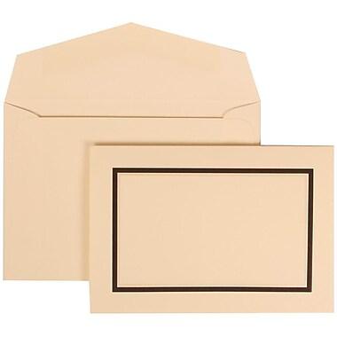 JAM Paper® Wedding Invitation Set, Small, 3.38 x 4.75, Ivory with Ivory Envelopes and Black Border, 100/Pack (310425103)