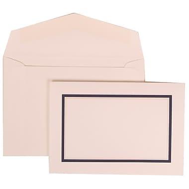 JAM Paper® Wedding Invite Set, Small, 3 3/8 x 4 3/4, White Card, Black and Blue Border, White Envelopes, 100/pack (310425110)