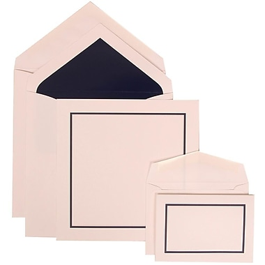 JAM Paper® Wedding Invitation Combo Sets, 1 Sm 1 Lg, White Cards with Black Blue Border, Navy Lined Env, 150/Pack (310425112)