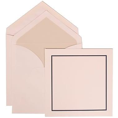 JAM Paper® Wedding Invitation Set, Large, 6.25x6.25, White, Black Blue Border, Crystal Lined Envelopes, 50/pack (310425113)