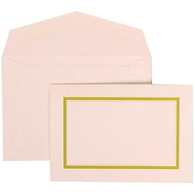 JAM Paper® Wedding Invitation Set, Small, 3.38 x 4.75, White with Kiwi Border and Kiwi Lined Envelopes, 100/Pack (310625120)