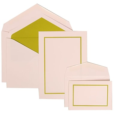 JAM Paper® Wedding Invitation Combo Sets, 1 Sm 1 Lg, White Cards with Green Border, Lime Lined Envelopes, 150/pack (310625122)