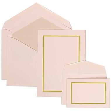 JAM Paper® Wedding Invitation Combo, 1 Sm 1 Lg, White Cards, Crystal Lined Envelopes, Kiwi Green Border, 150/pack (310625124)