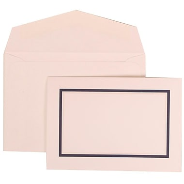 JAM Paper® Wedding Invite Set, Small, 3 3/8 x 4 3/4, White Cards with Navy Blue Border, White Envelopes, 100/pack (310625126)