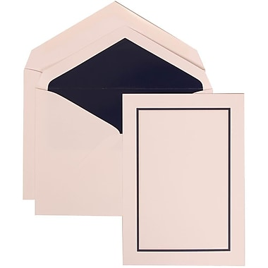 JAM Paper® Wedding Invite Set, Large, 5.5 x 7.75, White Cards with Navy Blue Border, Navy Lined Envelopes, 50/pack (310625127)