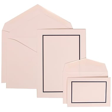 JAM Paper® Wedding Invitation Combo Sets, 1 Sm 1 Lg, White Cards, Navy Blue Border, White Envelopes, 150/Pack (310625132)