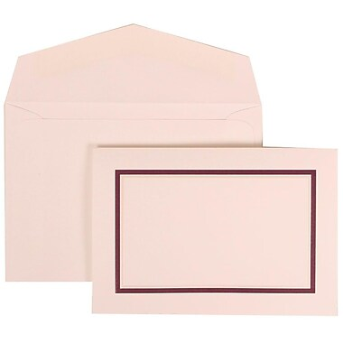 JAM Paper® Wedding Invitation Set, Small, 3.38 x 4.75, White Cards with Purple Border, White Envelopes, 100/Pack (310625133)