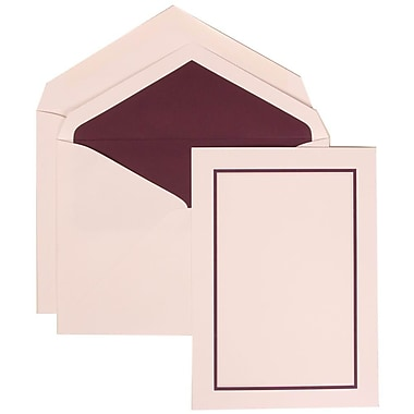 JAM Paper® Wedding Invite Set, Large, 5.5 x 7.75, White Cards with Purple Border, Purple Lined Envelopes, 50/pack (310625134)