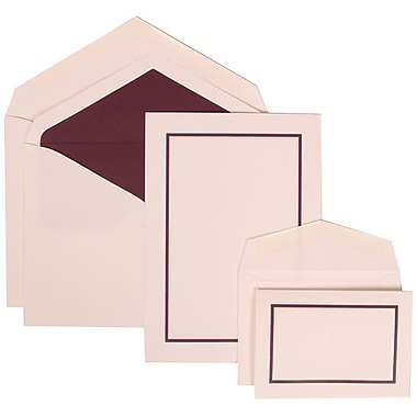 JAM Paper® Wedding Invitation Combo Sets, 1 Sm 1 Lg, White Cards, Purple Border, Purple Lined Envelopes, 150/Pack (310625135)