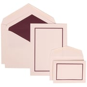 JAM Paper Wedding Invitation Combo Sets, 1 Sm 1 Lg, White Cards, Purple Border, Purple Lined Envelopes, 150/Pack (310625135)