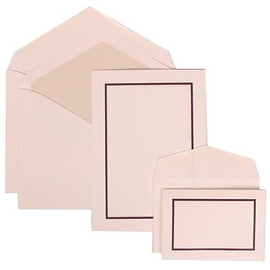 JAM Paper® Wedding Invitation Combo Sets, 1 Sm 1 Lg, White Cards, Purple Border, Crystal Lined Envelopes, 150/Pack (310625137)