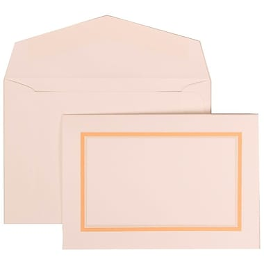 JAM Paper® Wedding Invitation Set, Small, 3.38 x 4.75, White with White Envelopes and Orange Border, 100/Pack (310725145)