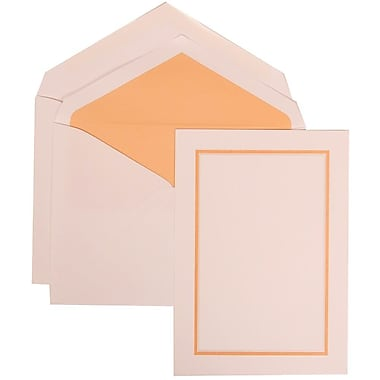 JAM Paper® Wedding Invitation Set, Large, 5.5 x 7.75, White Card with Orange Border, Orange Lined Envelopes, 50/Pack (310725146)