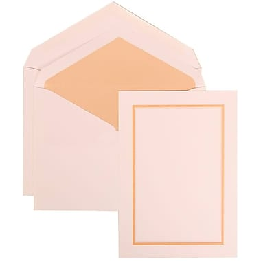 JAM Paper® Wedding Invitation Set, Large, 5.5 x 7.75, White with Apricot Lined Envelopes and Orange Border, 50/Pack (310725148)