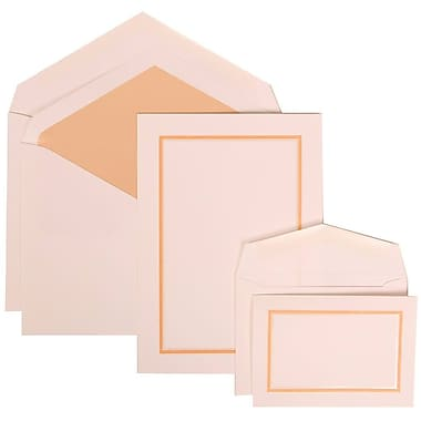 JAM Paper® Wedding Invitation Combo, 1 Sm 1 Lg, White Cards with Apricot Border, Apricot Lined Envelope, 150/pack (310725149)