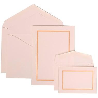 JAM Paper® Wedding Invitation Combo Sets, 1 Sm 1 Lg, White Cards with Light Orange Border, White Envelopes, 150/Pack (310725151)