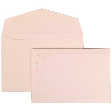 JAM Paper® Wedding Invitation Set, Small, 3.38 x 4.75, White with White Envelopes and Orange Lily, 100/Pack (310825152)