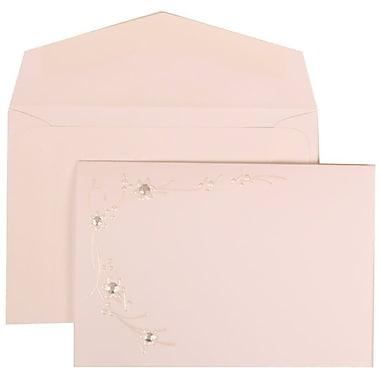 JAM Paper® Wedding Invitation Set, Small, 3.38 x 4.75, White Cards, Ivory Flower Design, White Envelopes, 100/Pack (310925165)
