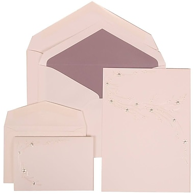 JAM Paper® Wedding Invitation Flower Jewel Set White Cards with Passion Purple Lined Envelopes, 150/Pack