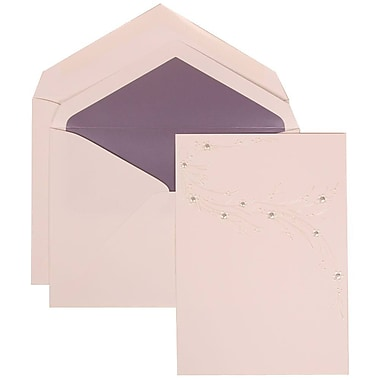 JAM Paper® Wedding Invitation Set, Large, 5.5 x 7.75, White, Ivory Flower Design, Purple Lined Envelopes, 50/Pack (310925167)