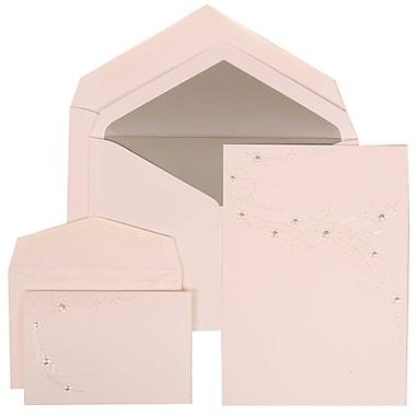JAM Paper® Wedding Invitation Combo Sets, 1 Sm 1 Lg, White, Ivory Flower Design, Silver Lined Envelopes, 150/Pack (310925172)