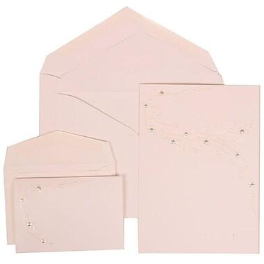JAM Paper® Wedding Invitation Combo Sets, 1 Sm 1 Lg, White Cards, Ivory Flower Design, White Envelopes, 150/Pack (310925174)