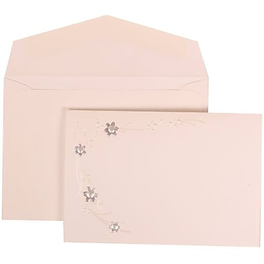 JAM Paper® Wedding Invitation Set, Small, 3 3/8 x 4 3/4, White Card, Purple Flower Jewels, White Envelopes, 100/pack (310925175)
