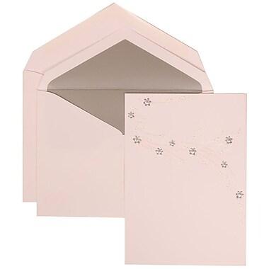 JAM Paper® Wedding Invitation Set, Large, 5.5 x 7.75, White, Purple Flower Jewel Design, Silver Lined Env, 50/Pack (310925184)