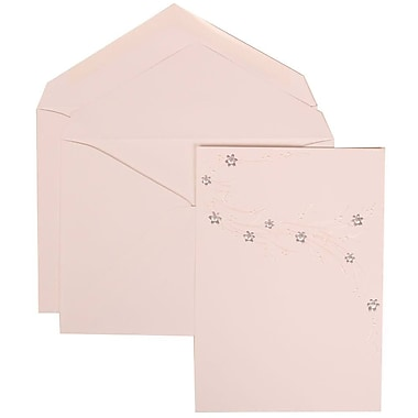 JAM Paper® Wedding Invitation Set, Large, 5.5 x 7.75, White, Purple Flower Jewel Design, White Envelopes, 50/Pack (310925186)
