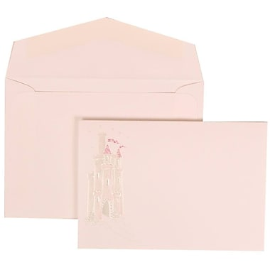 JAM Paper® Wedding Invitation Set, Small, 3.38 x 4.75, White with White Envelopes and Pink Princess, 100/Pack (311625194)