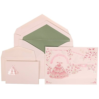 JAM Paper® Wedding Invitation Combo Sets, 1 Sm 1 Lg, Pink, Colourful Princess, Sage Green Lined Envelopes, 150/Pack (311725203)