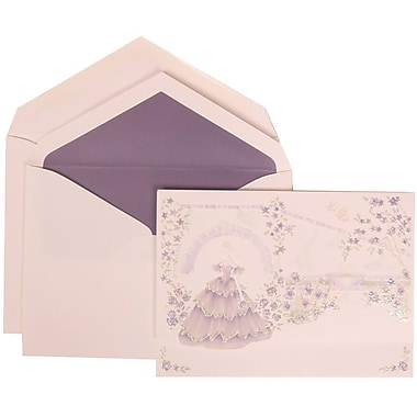 JAM Paper® Wedding Invitation Set, Large, 5.5 x 7.75, Purple Cards, Purple Princess, Purple Lined Envelopes, 50/Pack (311725206)