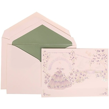 JAM Paper® Wedding Invite Set, Large, 5.5 x 7.75, Purple, Colourful Princess, Sage Green Lined Envelopes, 50/Pack (311725208)