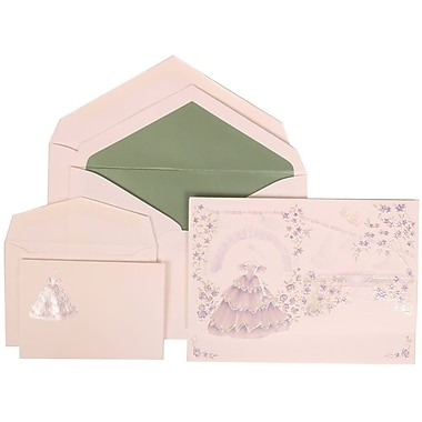 JAM Paper® Wedding Invitation Combo, 1 Sm 1 Lg, Purple, Colourful Princess, Sage Green Lined Envelopes, 150/Pack (311725209)